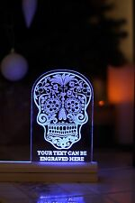 Personalised Sugar skull engraved plaque Led light. Birthday present, Christmas