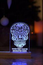 Personalised Sugar skull engraved plaque Led light. Birthday present, Christmas