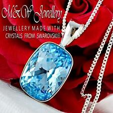 925 Silver Necklace Pendant Crystals from Swarovski® CUSHION 14mm - Aquamarine
