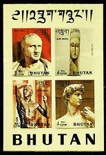 BHUTAN 1971 FAMOUS ITALIAN SCULPTURES 4v PLASTIC MNH SHEET RARE-N45905