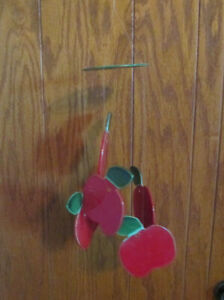 Vintage Hanging Ceramic Red Apple Wind Chime or Mobile by JAM