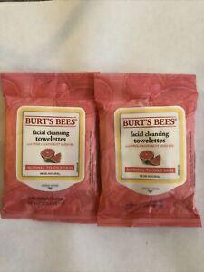 2 Pk Burt's Bees Facial Cleansing Towelettes Pink Grapefruit 10 Towelettes ea