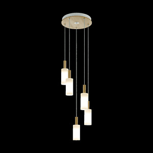 Eglo Oakham Five Drop Cluster Pendant in Satin Glass and Wood