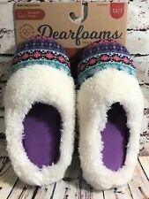 Girl's Slippers Dearfoams Memory Foam Sz 13-1 Non-Skid Purple Razzberry Knit Top