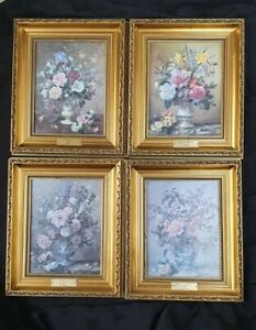 AntiqueStyle Picture Flowers Gilt Framed Colombines A Williams set of 4