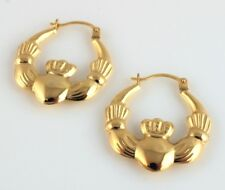 New 9ct Yellow Gold Claddagh Creole Earrings