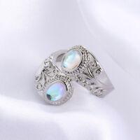 Frauen Top Regenbogen Mondstein Silber Ring Schmuck Jubiläumsgeschenke Mode