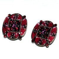 TEMPLE STREET Boucles d'oreilles bronze doré émail rouge strass bijou earring A2