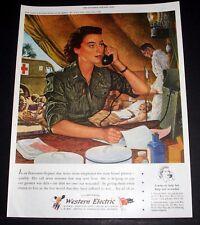 1944 WWII MAGAZINE PRINT AD, WESTERN ELECTRIC, EVACUATION HOSPITAL NURSE ART!