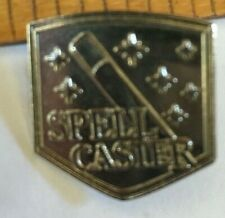 SPELL CASTER pin badge white metal - decorated with stars and wand magical!