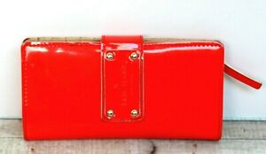 """3.75""""x6.75"""" kate spade HOT RED PATENT GENUINE LEATHER ID CARD BILL BIFOLD WALLET"""