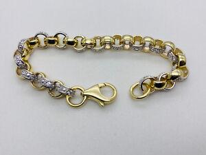 """Solid Genuine 9ct Gold Baby&Kids Diamond Set Round Belcher Bracelet 6.5"""""""