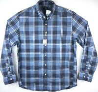NWT J Crew Shirt Men's Size L Button Up Blue Plaid Heathered Cotton Long Sleeves