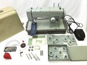 SERVICED Heavy Duty Vtg Sears Kenmore Zig Zag Sewing Machine Green Denim Leather