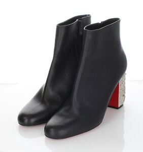 34-66 $1395 Women's Sz 40 M Christian Louboutin Pietra Leather Carved Heel Boot