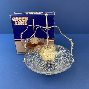 Vintage Queen Anne Silver Plated  Stand and Spoon with Glass Jam Preserve Bowl