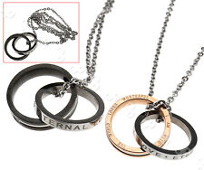 Interlocking Ring His and Hers Matching Promise Eternal Couple Love Necklace