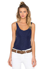 NWT $185 Frame Denim Le Mirror 100% Silk Tank TOP LWSH0162 NAVY DOT SZ M