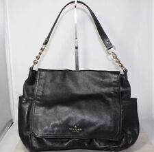 Kate Spade Medium Black Leather Side Pocket Messenger Bag (825) Work School Tote