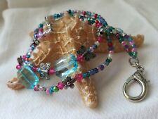 Beaded Lanyard ID Badge Holder Wire Butterfly Pink Blue CUSTOM OOAK Flower Clasp