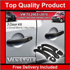 VW T5 TRANSPORTER CARAVELLE 2003>15 CARBON FIBRE 3 DOOR HANDLE COVERS NOT CHROME