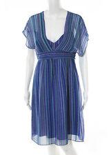 Shoshanna Multicolored Silk Striped Spaghetti Strap Plunge Neck Dress Size 6 New