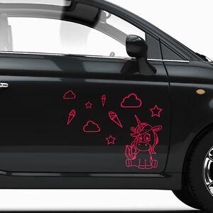 Aufkleber Einhorn Eis Sterne Wolke Bogen Auto Dekorset Tuning Sticker #1288