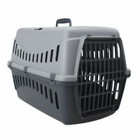 Grey Portable Pet Carrier Cat Puppy Travel Cage Dog Carry Basket Transporter Box