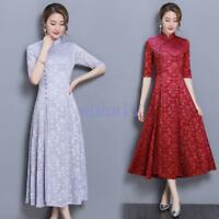 Women's Chic Improved Half Sleeve Lace Long Qipao Cheongsam Retro Dress Solid