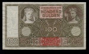 NETHERLANDS  100  GULDEN  1942  ( FY )   PICK # 51c  AU.