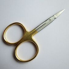 FLY TYING SCISSORS, NEEDLE POINT, premium SUPER SHARP! (GOLD/SATIN)