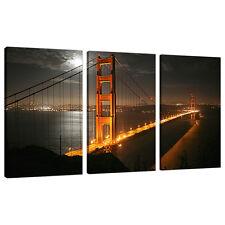 Tre TELA FOTO SAN FRANCISCO Wall Art GOLDEN GATE ponti 3038
