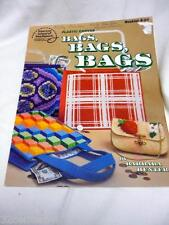 PLASTIC CANVAS BAGS NO S-24 PLAID TOTE CLUTCH PURSE BABY BLOCKS WOVEN RIBBONS