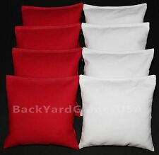 CORNHOLE BEAN BAGS Red & White 8  All Weather Resin Filled