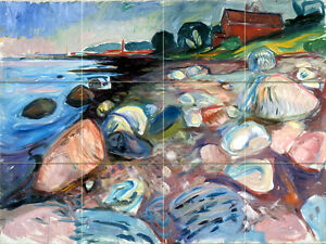 17 x 12.75 Edvard Munch Shore Red House Ceramic Mural Backsplash Bath Tile #2191