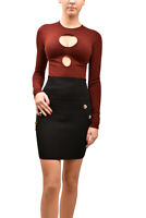 Ronny Kobo Womens Two Hole Bodysuit Slim Knitted Brown Size XS