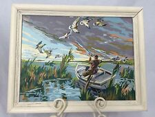 Paint by Number Hunting Scene 12 x 16 Vintage in White Frame Duck Boat Swamp