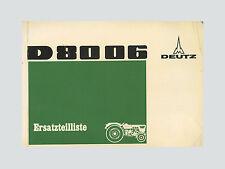 DEUTZ D 80 06  Traktor Ersatzteilliste Original 1971