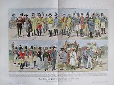 Brief-Boten und Postillone aus der Zeit von 1800-1870 - Druck aus ca 1900