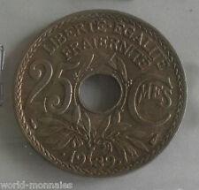 25 centimes lindauer maillechort .1939. : TB : pièce de monnaie française