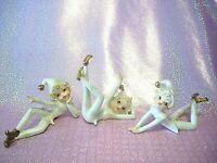 *SUPER RARE VTG Christmas Lefton Japan Iridescent Elf Pixie Boy Figurine Set