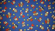 LINED VALANCE 42X12 VINTAGE NINTENDO SUPER MARIO WORLD VIDEO GAME WII BLUE NES
