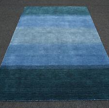 Orient Teppich Gabbeh 180 x 120 cm Blau Streifen Muster Blue Carpet Rug Tappeto