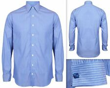 Mens Shirt Invictus Slim Fitted Athletic Body Fit Easycare Cotton Double Cuff L Blue Stripe