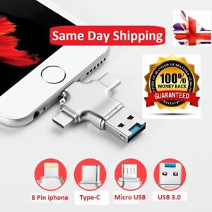 4 In 1 Metal USB OTG USB 3.0 Micro SD Card Reader For Android Type-C iPhone