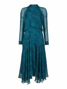 WHISTLES Big Cat Carlotta Dress Teal Blue Animal Print UK16 BNWT RRP179
