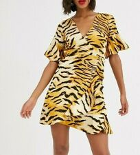 AX PARIS Wrap Mini Dress in Tiger Print  UK 12  EU 40   (CC41-10)