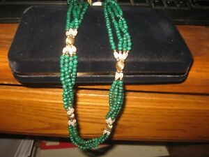 Malachite Bead w/ 14K gold and freshwater pearls necklace 24 inch NOS,