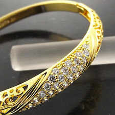 A253 GENUINE REAL 18K YELLOW G/F GOLD DIAMOND SIMULATED CUFF BANGLE BRACELET