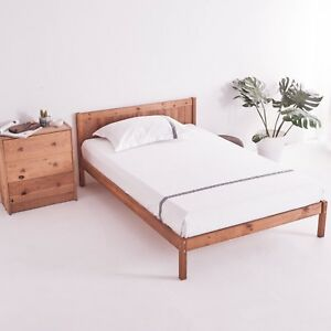 Double Bed in  4'6 Wooden Frame white Solid Wood Bed 4ft Small 4ft 6 Double